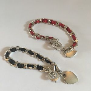4 for $12: Silver Tone Black & Red ribbon